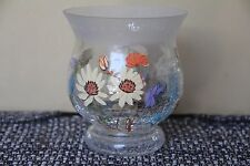 HANDPAINTED FLOWER BUTTERFLY VASE CANDLE HOLDER CRACKLE FROSTED GLASS FRIENDSHIP