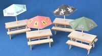 1:32 Scale Tables with Umbrellas x 4 - for Scalextric/Other Static Layouts