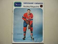 1970/71 VANCOUVER CANUCKS VS MONTREAL CANADIENS HOCKEY PROGRAM JEAN BELIVEAU