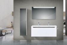 Design Badmöbel Set mit 120 cm Doppelwaschtisch Grau Hochglanz Griffleiste : Sch
