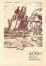 More details for rare vintage 1958 poland postcard, 400 year of polish mail, lat poczty polskiej