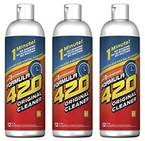 Formula 420 Glass Metal Ceramic Pipe Cleaner 12 Oz Bottles 3 Pack FAST SHIPPING