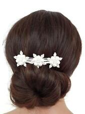 Beautiful Pearl and Crystal Barrette Hair Clip Flower Design Bridal