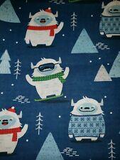100% Cotton Holiday Yeti/Abominable Snowman Snowboarding Winter Fabric 1/4 Yard