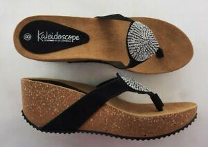 Kaleidoscope Jewel Disc Wedge Platform Toe Mule Leather Suede Black UK8 s22 e2