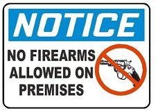 Notice no firearms allowed on premises  sticker