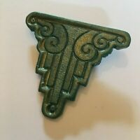 HAND CRAFTED ARCHITECTURAL ART DECO STYLE BROOCH GREEN WITH GOLD HIGHLIGHTS