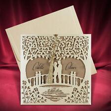 100 Romantic Laser Cut Wedding Invitation Cards Kraft Invitations Free Shipping