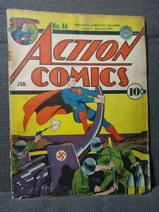 Action Comics 44 | 1/42 | WWII Nazi cover by Fred Ray Hitler | G-