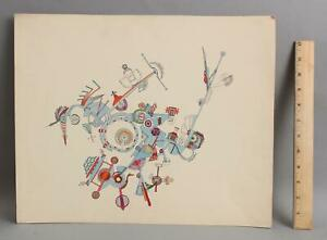 1970 FREDERIC M FAILLACE Abstract Mid-Century Modernist Ink Watercolor Painting