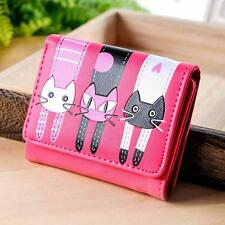 Women Cat Pattern Coin Purse Short Wallet Card Holders Handbag HOT Pink