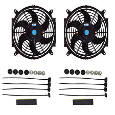 """DUAL 10"""" INCH ELECTRIC AUTOMOTIVE RADIATOR COOLING 12v FAN SLIM CURVED BLADE"""