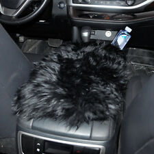 Black Car Sheepskin Wool Center Console Armrest Box Cover Durable Pad Cushion