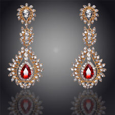 GORGEOUS  LARGE 18K GOLD PLATED RED AND CLEAR CRYSTAL LONG DANGLE  EARRINGS