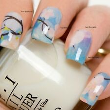 Nail Art Wraps Decals Water Transfer Blue Vintage Oriental Blossom Wraps Y165