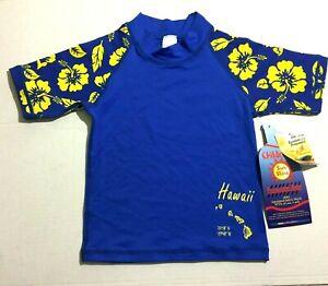 Sun Skinz Kids Rash Guard Swim Shirt Sz Small Swimming Blue Hawaii Hibiscus