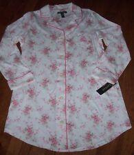 NWT Ralph Lauren Cream/Pink FLORAL Jersey Knit Sleep Shirt Nightgown Gown S $59