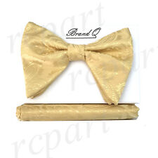New in box formal Men Pre-tied long style paisley Bow tie & Hankie Gold yellow