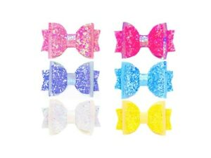 "Dog Hair Bows- 2.5"" Summer Bright Pink Purple Blue Yellow White Chunky Glitter S"
