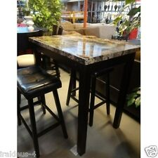 Kitchen Table Bar Nook Set Marble Breakfast Counter Height Stools Chairs 3 Piece