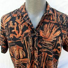 Hilo Hattie Hawaiian Aloha Shirt Ladies Size M Shells Coral Fish Brown Black