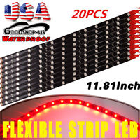 20X 30CM/12 LED 5050 Red Car Motor Truck DRL Flexible Strip Light Waterproof 12V
