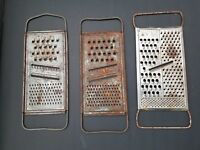 Vintage Lot of 3 Metal Cheese Graters Farmhouse Rustic Kitchen Decor Grater