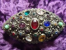 GORGEOUS ART DECO NEW ENGLAND GLASS CO.COLORFUL RHINESTONE GOLD TONE BROOCH LOOK