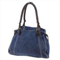 Miu Miu Bag Hand bag Canvas Leather Blue Woman unisex Authentic Used T8335