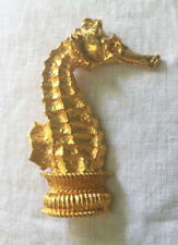 DELILLO huge gold tone SEAHORSE brooch~VINTAGE COUTURE~MINT~TR00