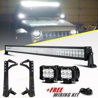 "52 inch 700W LED Light Bar Combo 4"" Pods + Mount Brackets For Jeep Wrangler JK"