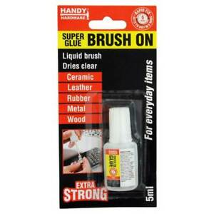 HANDY HARDWARE Brush On Liquid Super Glue 5ml For Rubber,Leather,Metal 219056