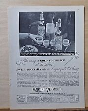 1934 magazine ad for Martini Vermouth, Like using Golden Toothpick, drink recipe