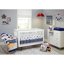 Disney 4-Piece Baby Toddler Lets Go Mickey Mouse Pluto Children Crib Bedding Set
