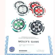 MOLLY'S GAME POKER CHIP SET OF 6, COA + MYSTERY GIFT