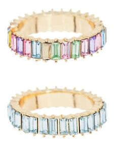 BaubleBar Mini Alidia Ring, Light Blue or Rainbow, Size 7 or 8, NWT $38