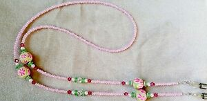 ! PINK FLOWER HANDMADE with SWAROVSKI CRYSTAL EYEGLASS CHAIN !!