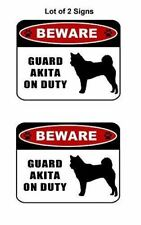 """2 count """"Beware Guard Akita (silhouette) on Duty"""" Laminated Dog Sign"""