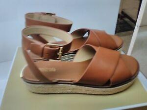 New Michael Kors Women's Abbott  Leather Sandal, Luggage Size 10