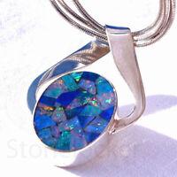 Opal SILBER 925 32mm Anhänger f. Kette silver 925 Dublette Mosaik pendant