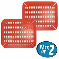 mDesign Adjustable Kitchen Sink Protector Mat - Pack of 2, Red