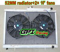52MM Aluminum Radiator for Nissan Skyline R33 R34 GTR GTST RB25DET MT &FANS