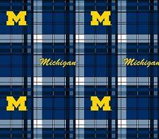College University of Michigan Wolverines Plaid UM 812 Fleece Fabric Print