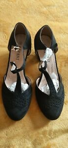 Ladies T bar suede effect shoes in black. UK size 8