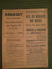 "Original Vintage 1960 RENAULT REGIE NATIONALE DU MANS Scorecard 8.5X11"" 8pgs 251"
