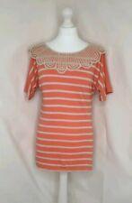 ASOS Orange Coral Stripe Crochet Neck T Shirt Size 8