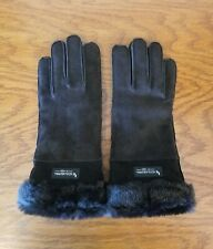 NWOT KOOLABURRA BY UGG WOMEN'S BLACK SUEDE LEATHER FAUX LINED GLOVES SIZE LARGE