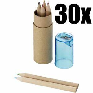 STOCK 30 PEZZI Piccolo astuccio set colori con 6 matite pastelli colori 0FW1
