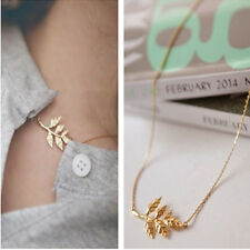 Celebrity Womens Gold Leaves Pendant Charm Chain Simple Necklace Fashion Jewelry