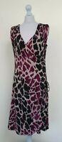 FEMME Black Purple Animal Print Stretch Wrap Sheath Dress Career Party Size 16